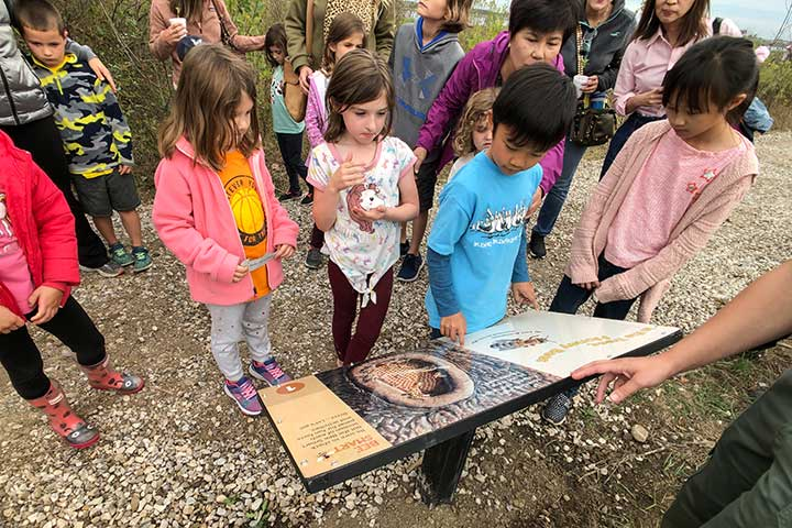 Kids looking at book panel on Storybook Trail